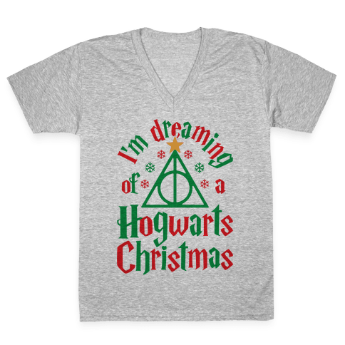 I'm Dreaming Of A Hogwarts Christmas V-Neck Tee Shirt