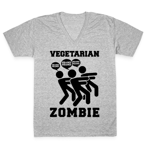 Vegetarian Zombie V-Neck Tee Shirt