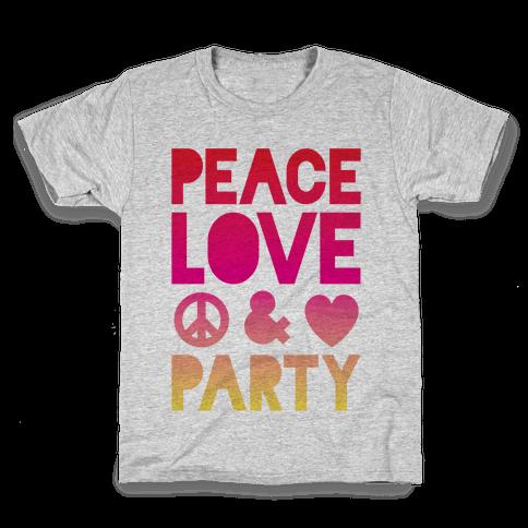 Peace Love & Party Kids T-Shirt