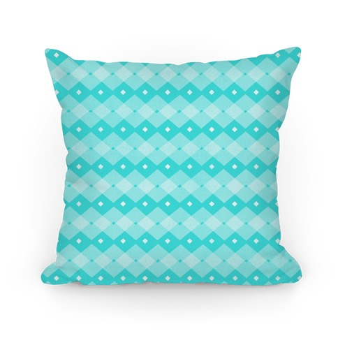 Teal Checkered Pattern Pillow