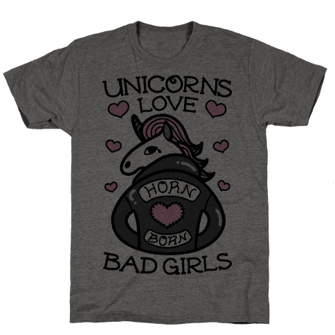 Unicorns Love Bad Girls Mens T-Shirt
