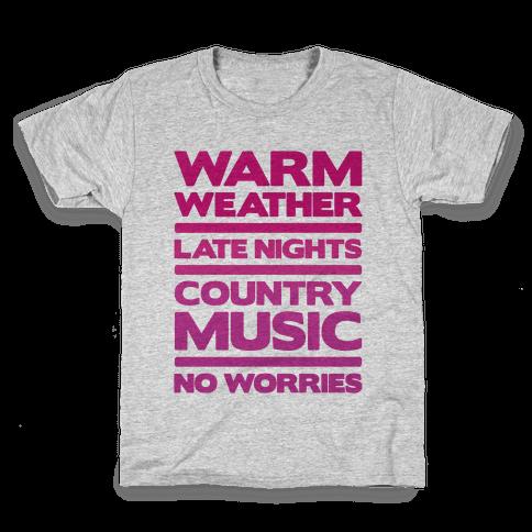 Warm Weather No Worries Kids T-Shirt