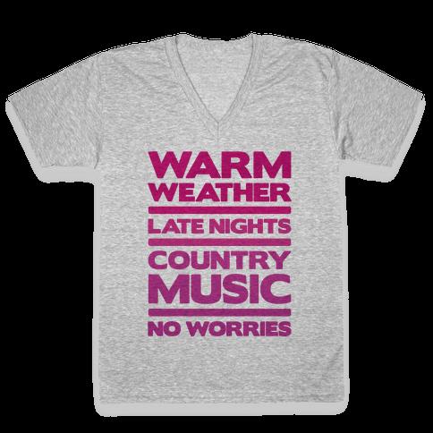 Warm Weather No Worries V-Neck Tee Shirt