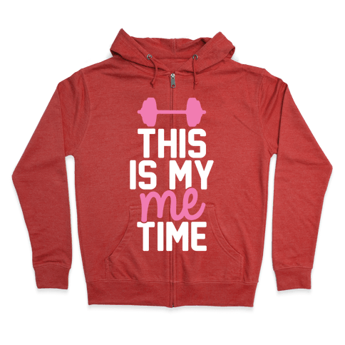 This Is My Me Time (Pink & White) Zip Hoodie