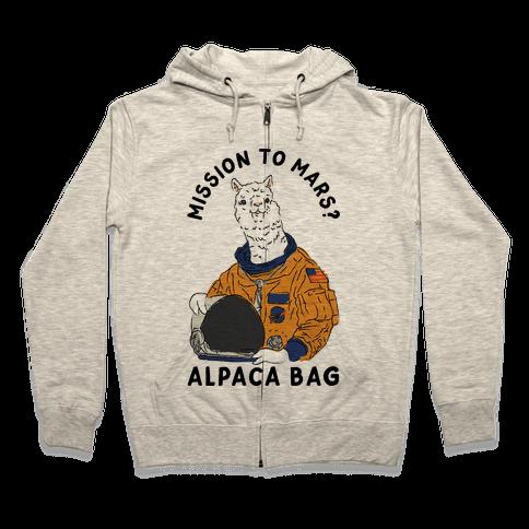 Mission to Mars Alpaca Bag Zip Hoodie