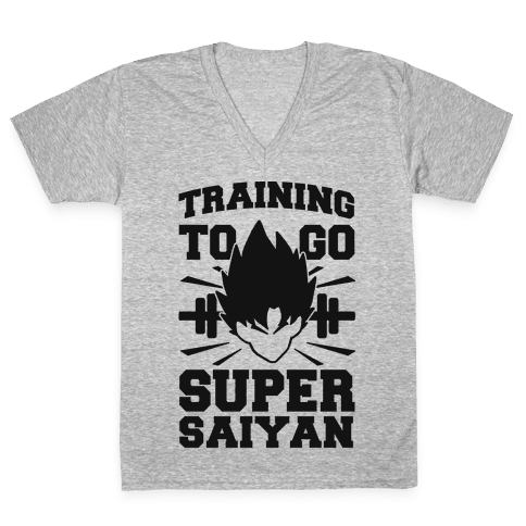 Training to Go Super Saiyan (black) V-Neck Tee Shirt