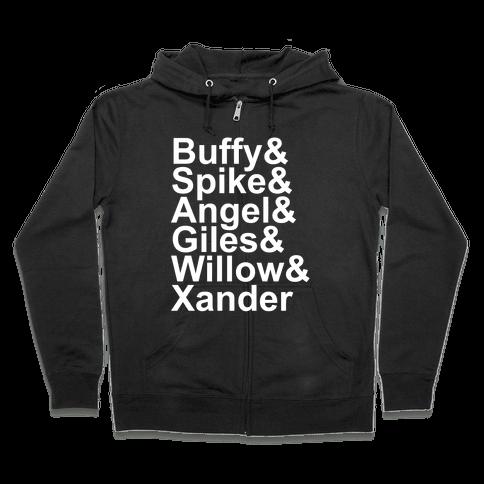 Buffy Names Zip Hoodie