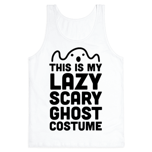 Lazy Scary Ghost Costume Tank Top