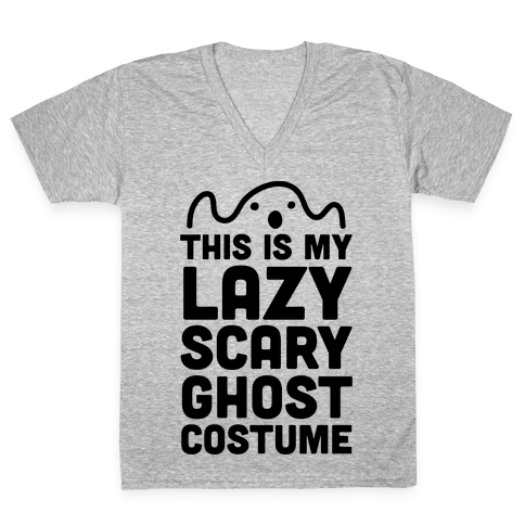 Lazy Scary Ghost Costume V-Neck Tee Shirt