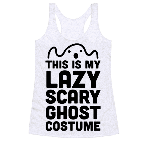Lazy Scary Ghost Costume Racerback Tank Top