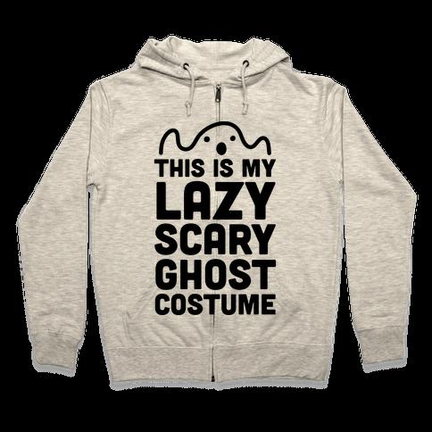 Lazy Scary Ghost Costume Zip Hoodie