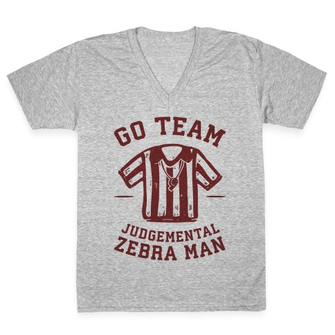 Go Team Judgemental Zebra Man V-Neck Tee Shirt