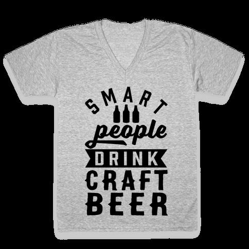 Smart People Drink Craft Beer V-Neck Tee Shirt