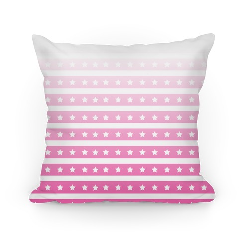 Pink Ombre Stars and Stripes Pattern Pillow