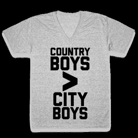 Country Boys > City Boys V-Neck Tee Shirt