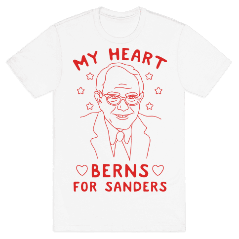My Heart Berns For Sanders Mens T-Shirt