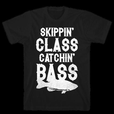 Skippin' Class Catchin' Bass Mens T-Shirt