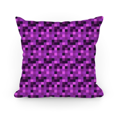 Purple Gamer Pixel Pattern Pillow