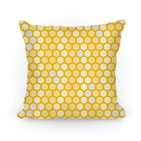 Yellow Geometric Honeycomb Pattern Pillow