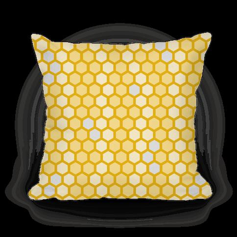 Yellow Geometric Honeycomb Pattern Pillow