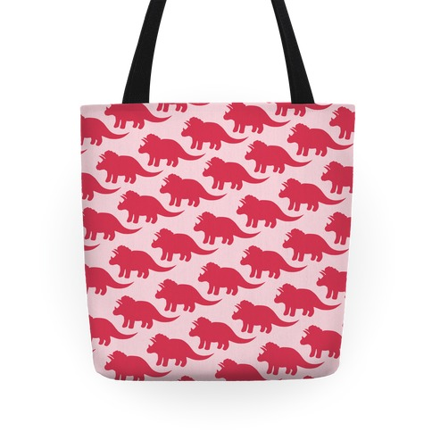 Pink Triceratops Pattern Tote