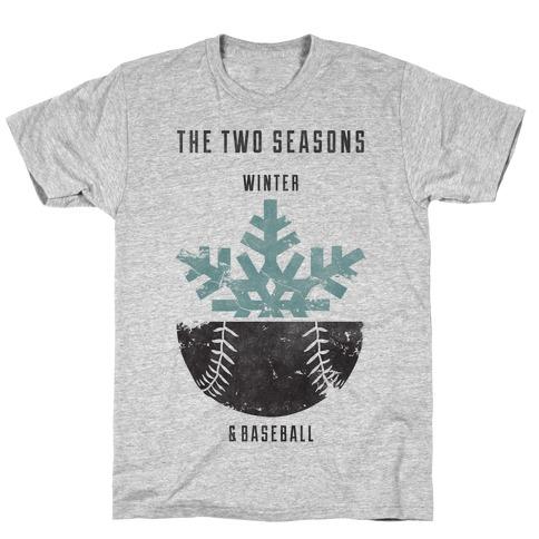 Winter and Baseball Mens/Unisex T-Shirt