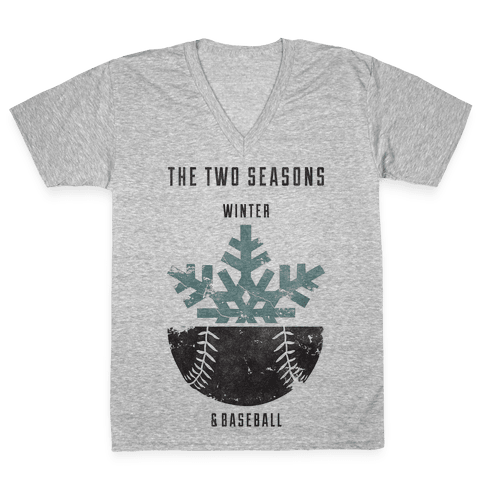 Winter and Baseball V-Neck Tee Shirt