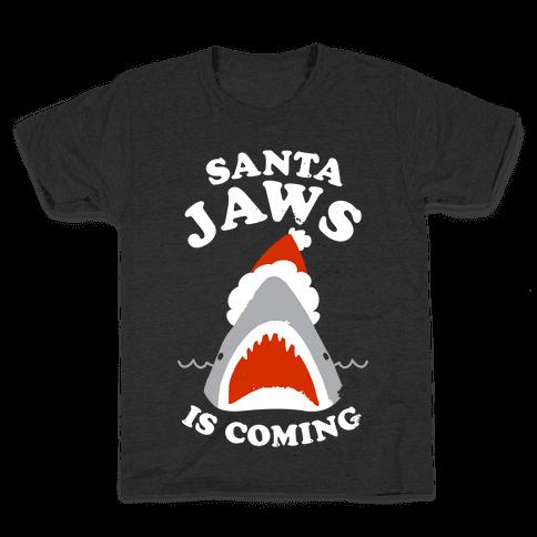 Santa Jaws Is Coming Kids T-Shirt