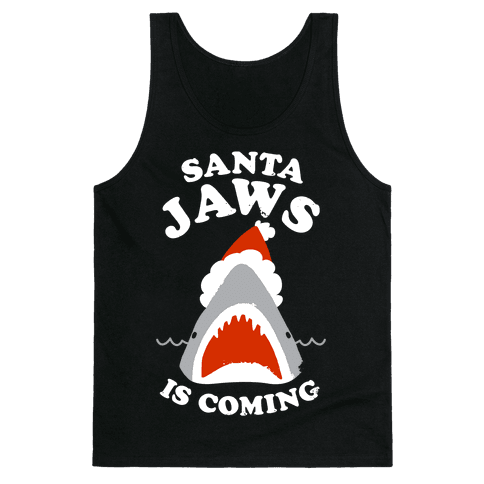 Santa Jaws Is Coming Tank Top