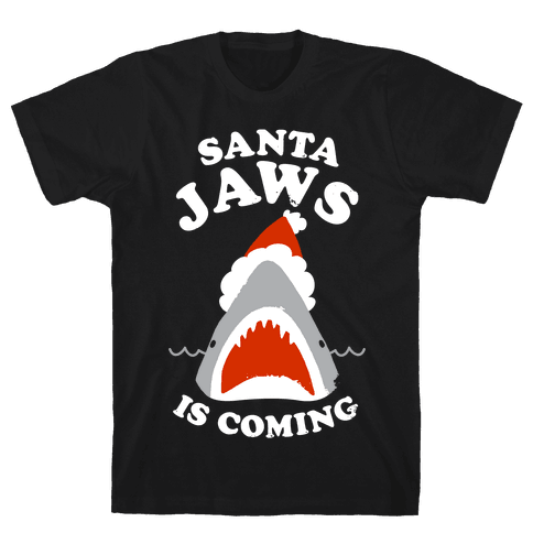 Santa Jaws Is Coming Mens T-Shirt