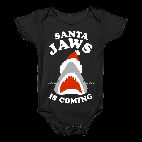 Santa Jaws Is Coming Baby Onesy