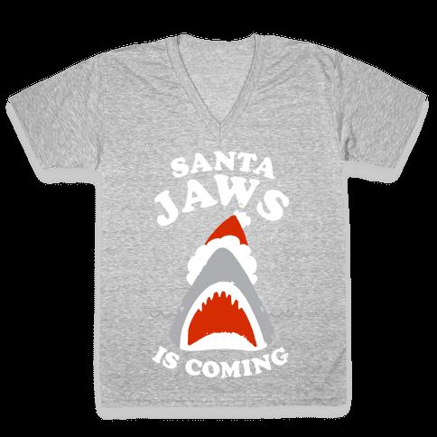 Santa Jaws Is Coming V-Neck Tee Shirt