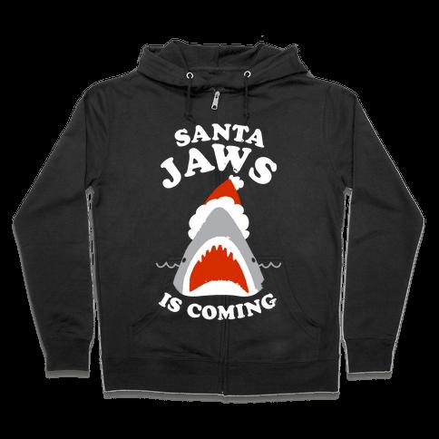 Santa Jaws Is Coming Zip Hoodie