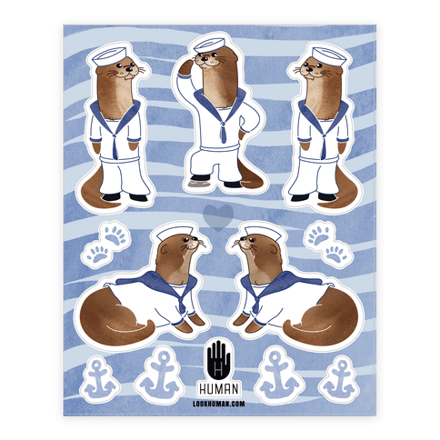 Sea Sailor Otter  Sticker/Decal Sheet