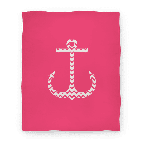 Chevron Anchor Blanket (Pink and White) Blanket