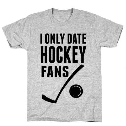 I Only Date Hockey Fans (slim fit) Mens T-Shirt
