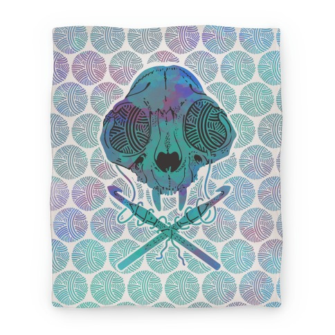 Cat Skull & Crochet Hooks Blanket