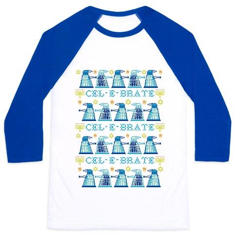 Dalek Hanukkah Sweater Baseball Tee