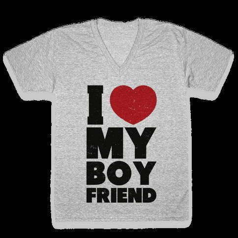 I Love My Boyfriend V-Neck Tee Shirt