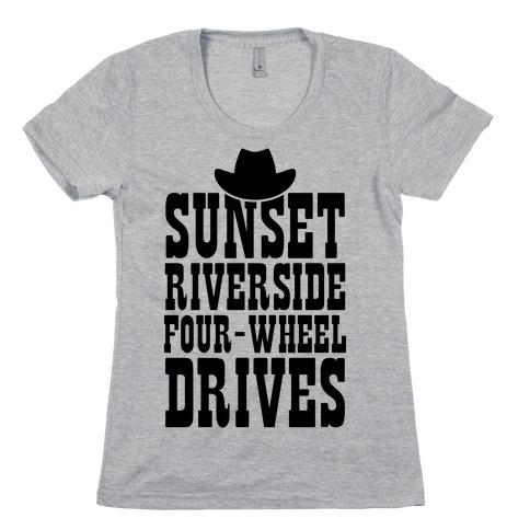 Sunset Riverside Four Wheel Drives Womens T-Shirt