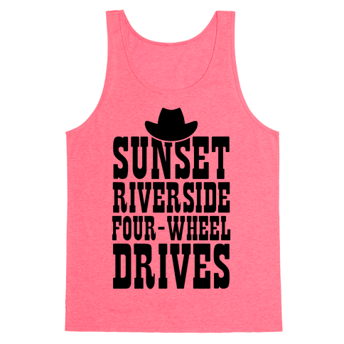 Sunset Riverside Four Wheel Drives Tank Top