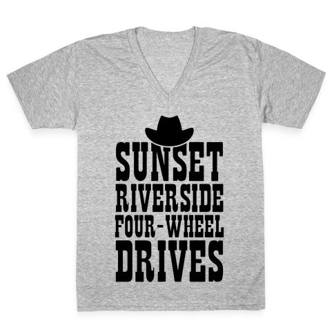 Sunset Riverside Four Wheel Drives V-Neck Tee Shirt
