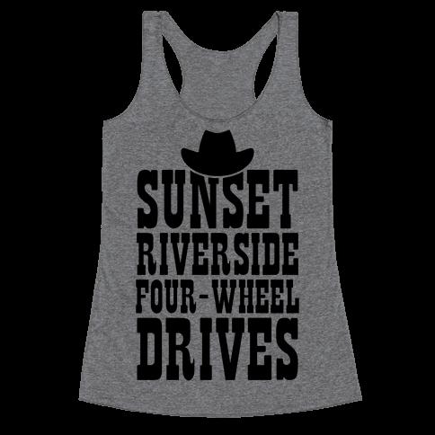 Sunset Riverside Four Wheel Drives Racerback Tank Top