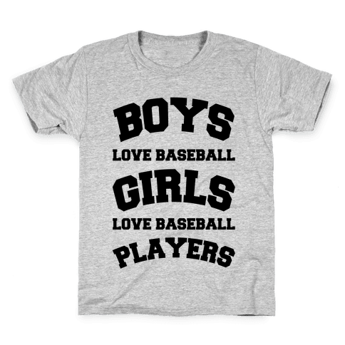Boys and Girls Love Baseball Kids T-Shirt