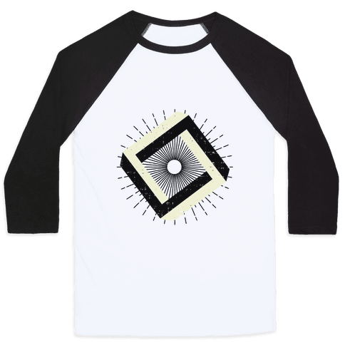 3D Geometric Square Baseball Tee