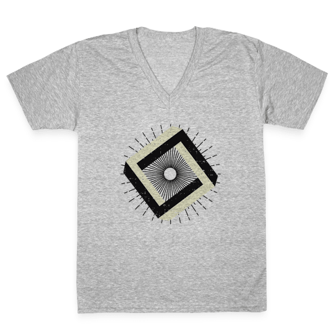 3D Geometric Square V-Neck Tee Shirt