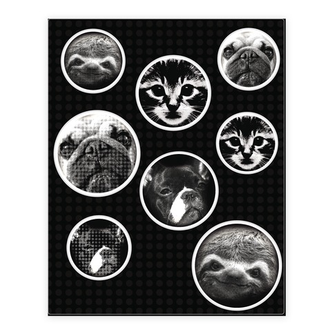Animal Face Sticker and Decal Sheet