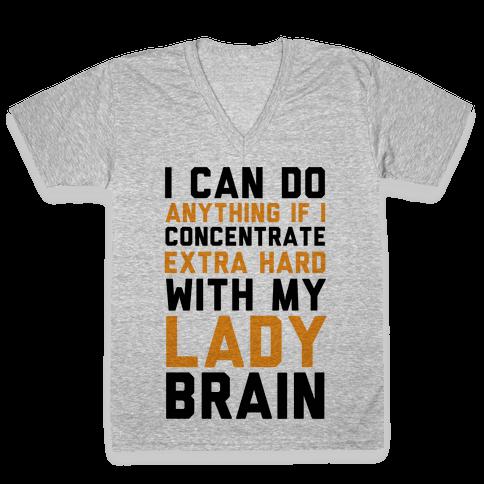 Lady Brain V-Neck Tee Shirt
