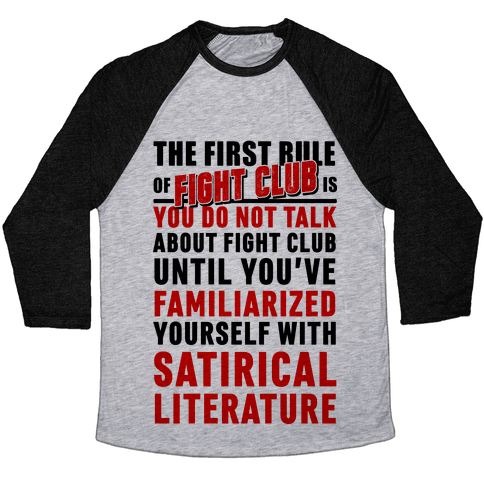 First Rule of Fight Club Satirical Literature Baseball Tee