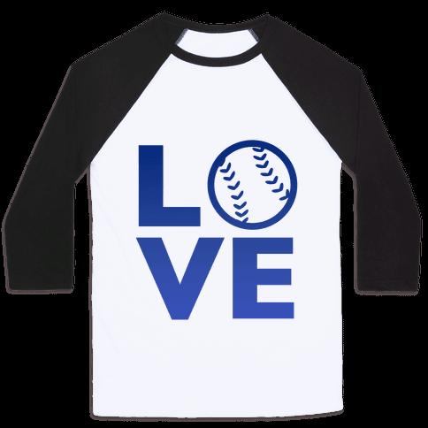 Love Baseball (Blue) Baseball Tee